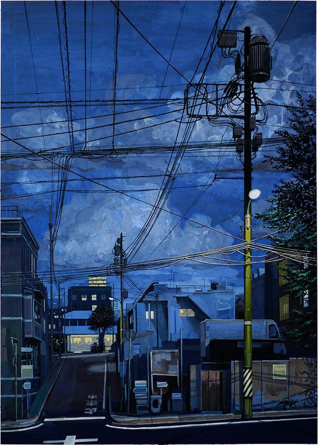 Grand Tokyo nuit. Gouache, 105 x 75 cm, 2016