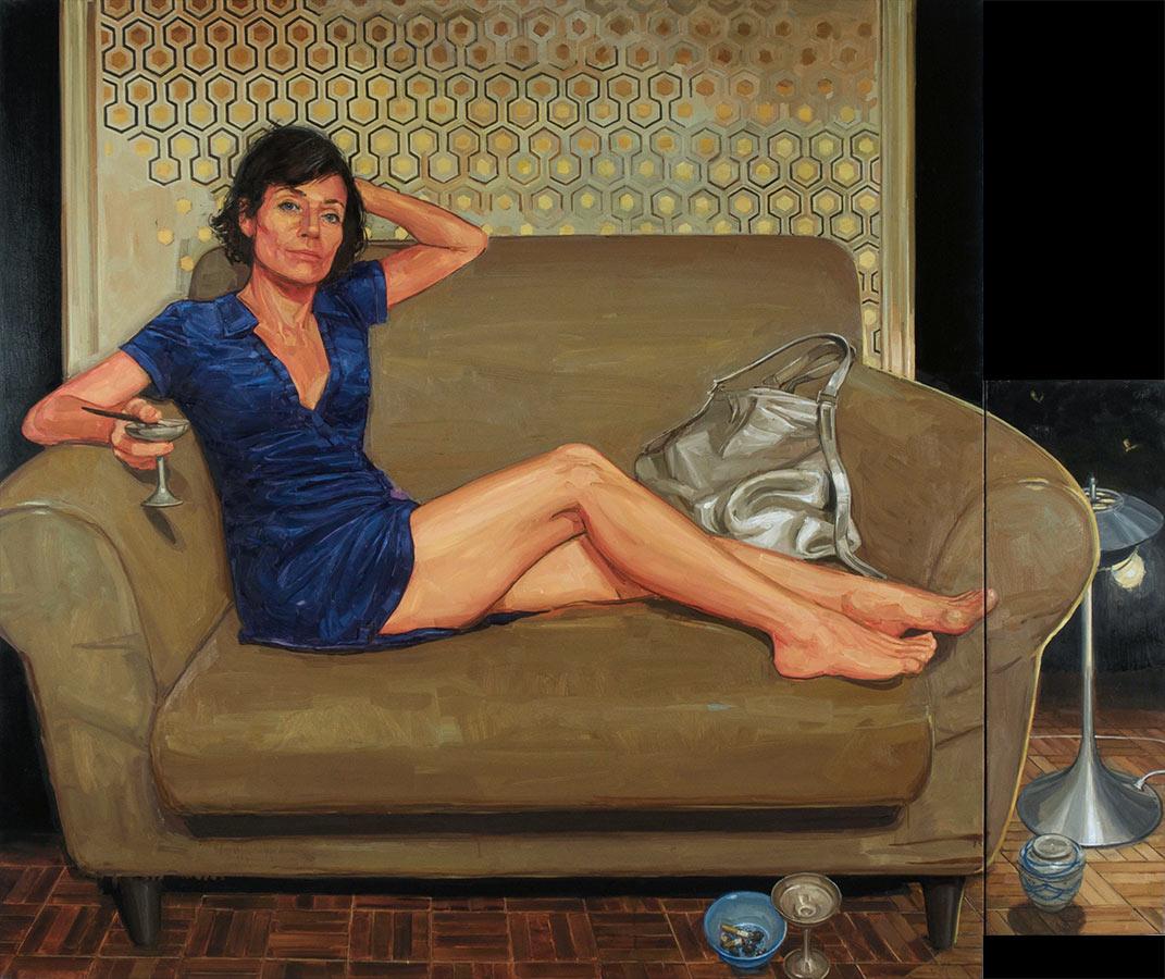 Petit salon 1. Diptyque, huile sur toile, 160 x 190, 2010