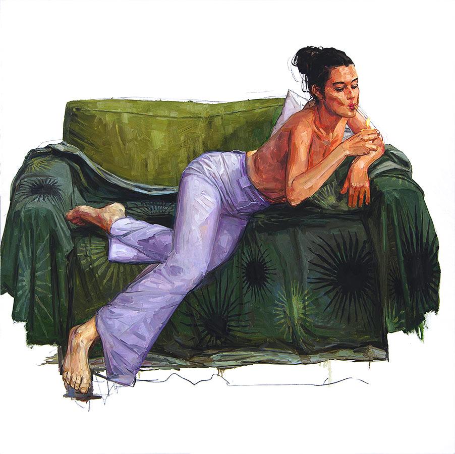 Petit salon 4. Huile sur toile, 160 x 160 cm, 2011