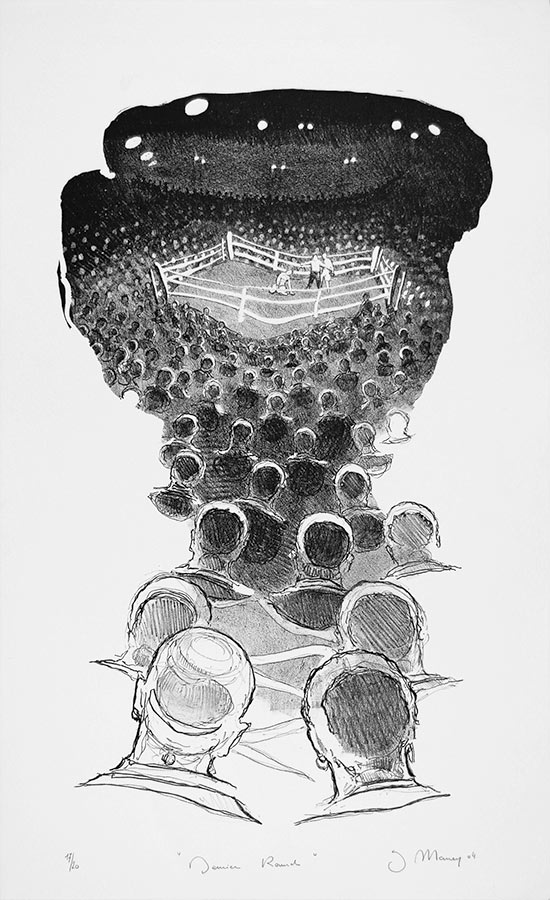 Dernier round. Lithographie 20 ex. 55 x 35 cm, 2004