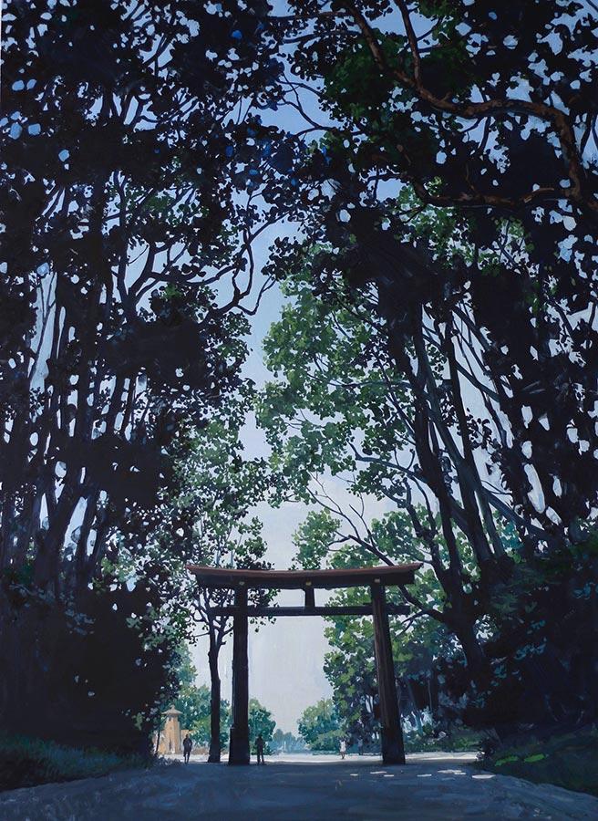 L'allée. Gouache, 105 x 75 cm, 2017