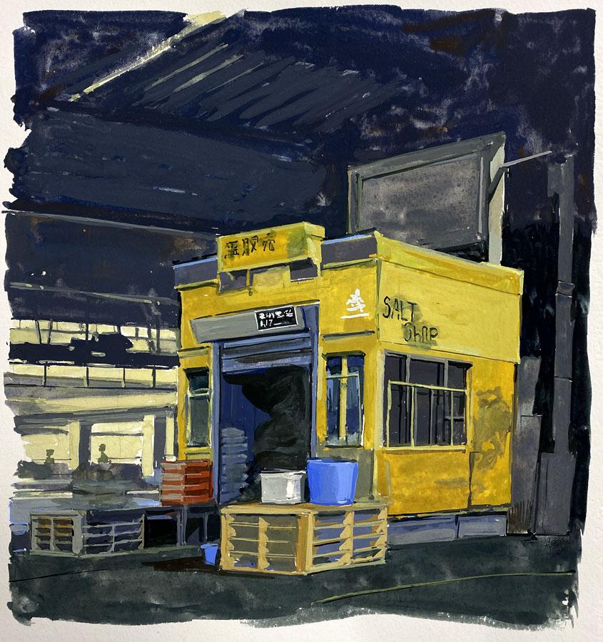Salt shop. Gouache, 32 x 25 cm, 2020