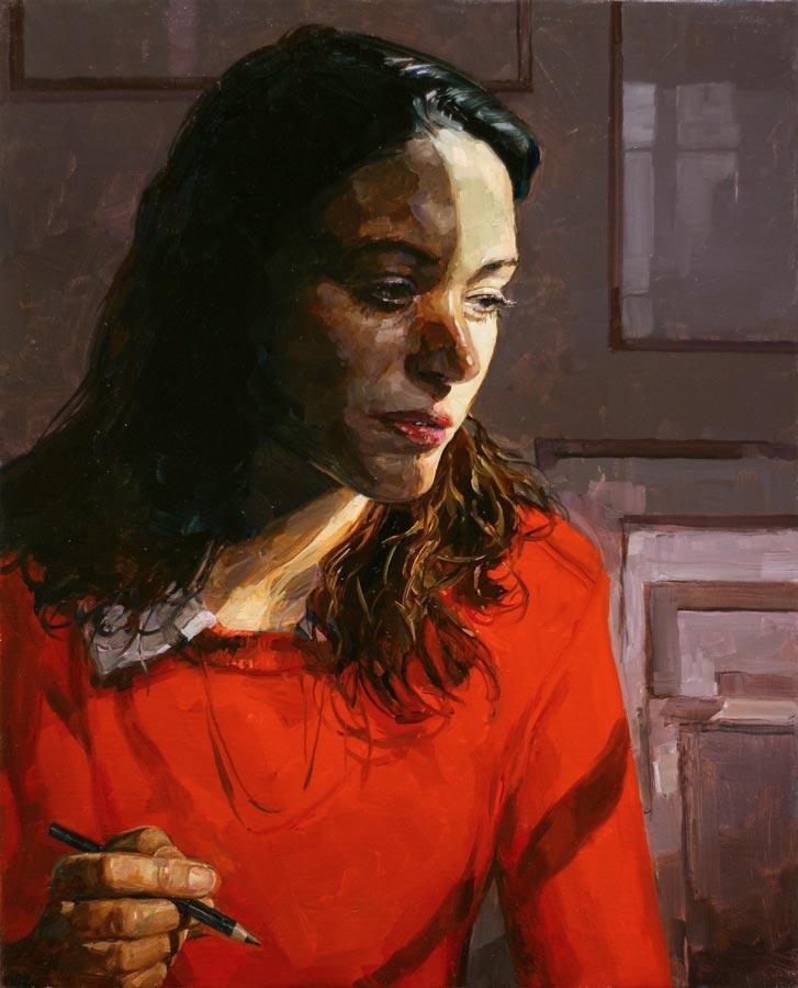 La dessinatrice. Huile sur toile, 40 x 50 cm, 2020