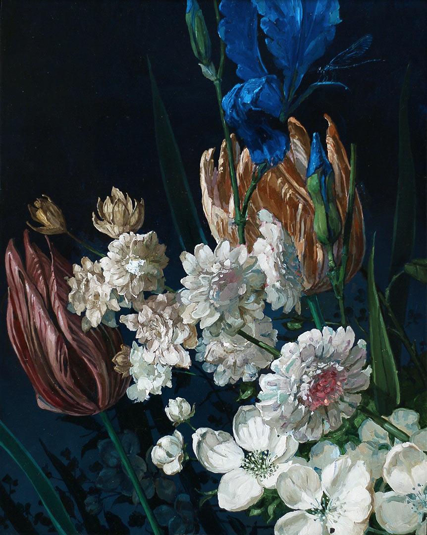 Fleurs. Huile sur bois, 43 x 34 cm, 2020