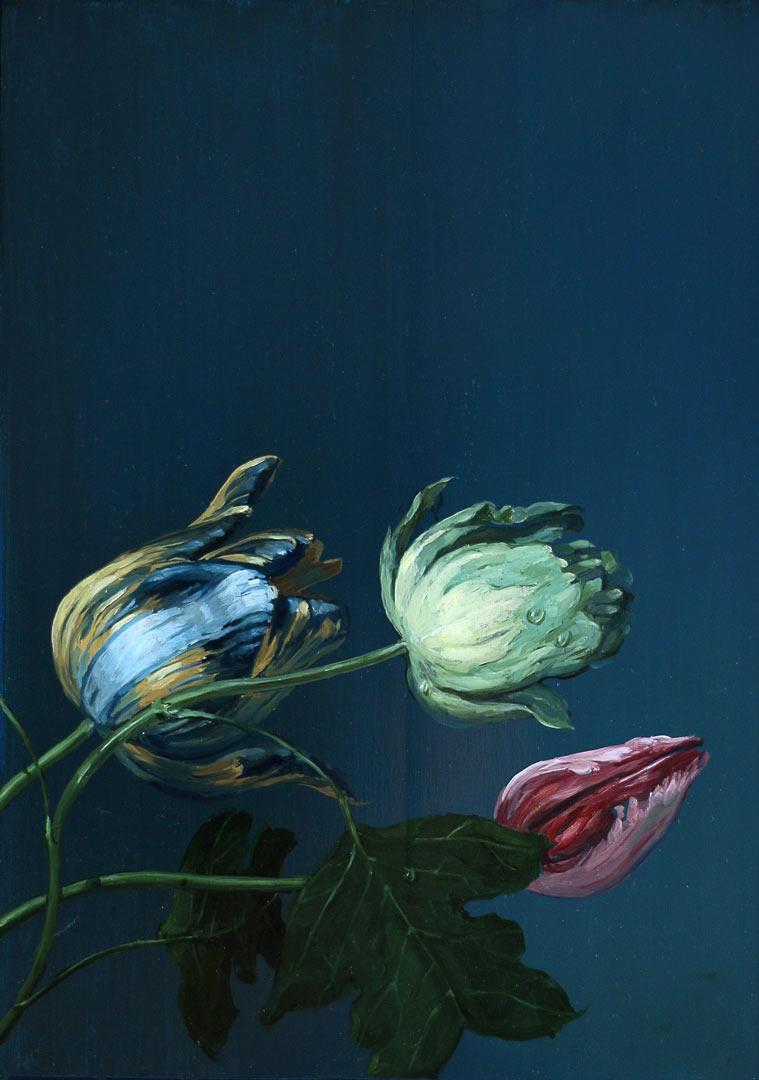 Les tulipes. Huile sur bois, 33 x 24 cm, 2019.
